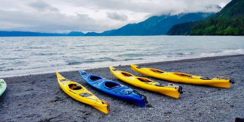 Four kayaks on the shore