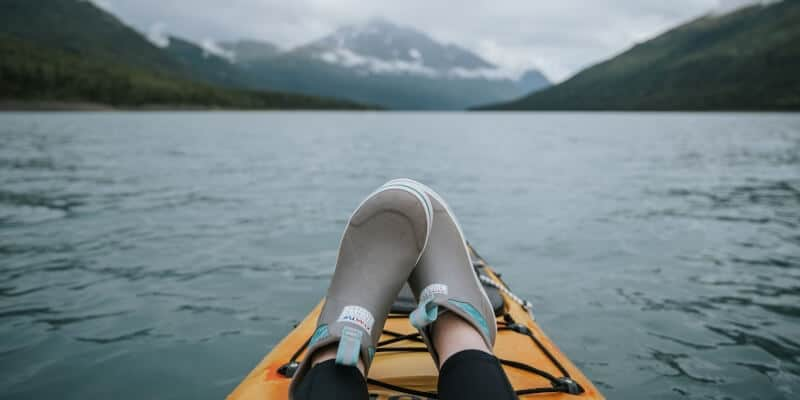 Kayaking with shoes on