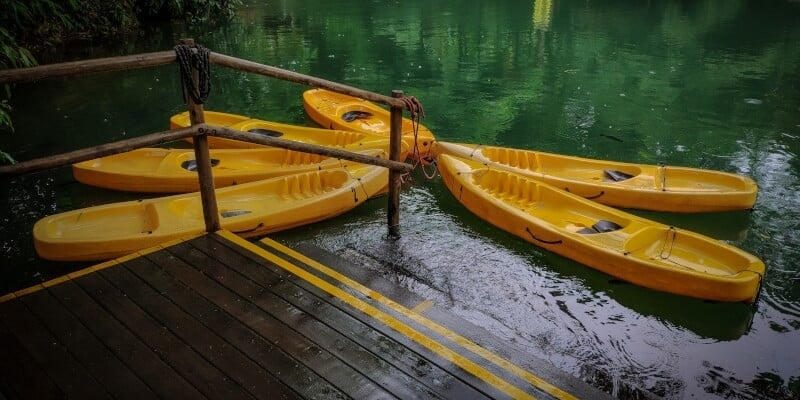 Kayaks facing each other