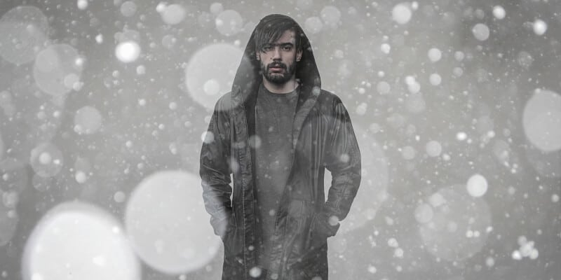Man in a snowy weather