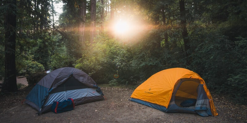 camping with sunrays