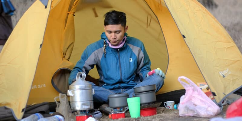 ready man in tent