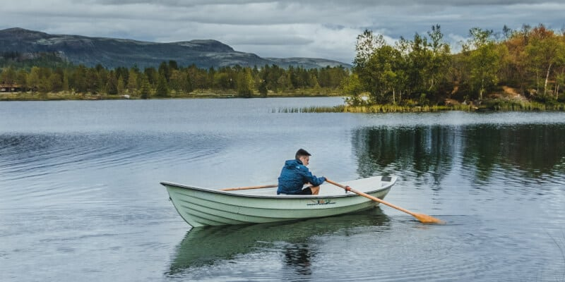 person on a canoe