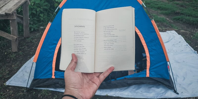 book and tent