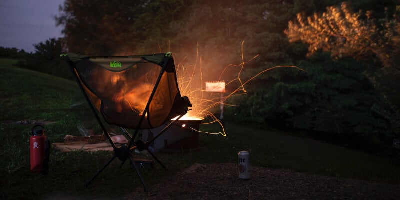 camping chair and bonfire