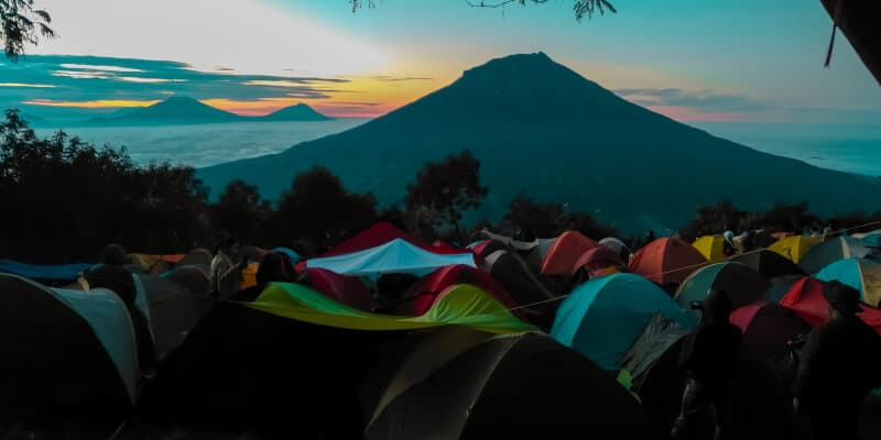 tents and mountain
