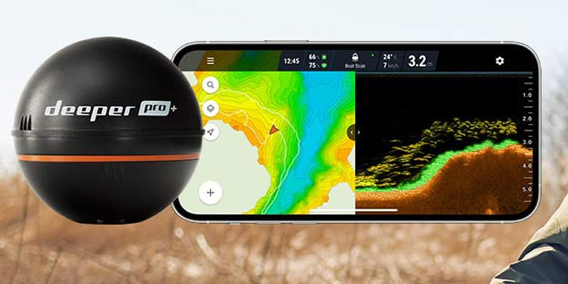 Deeper PRO+ Smart Sonar - GPS Portable Wireless Wi-Fi Fish Finder for Shore and Ice Fishing, Black, 2.55 (DP1H10S10)