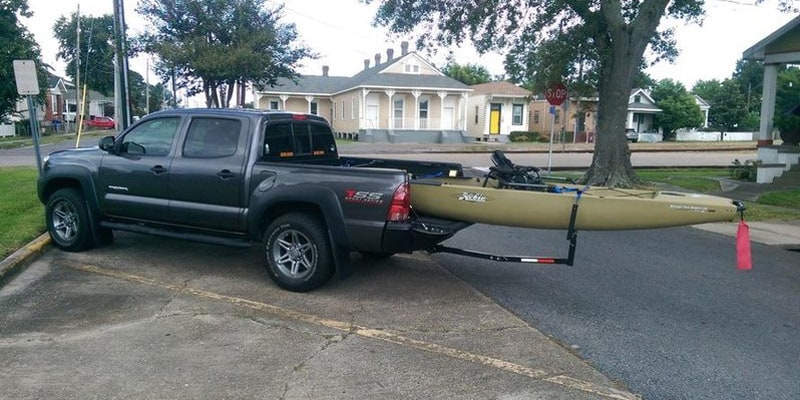 Secure your kayak on the truck bed with tailgate down